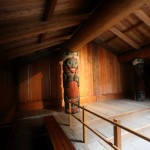 "Interior of a replica ""Clan House"" at Totem Bight, Ketchikan."