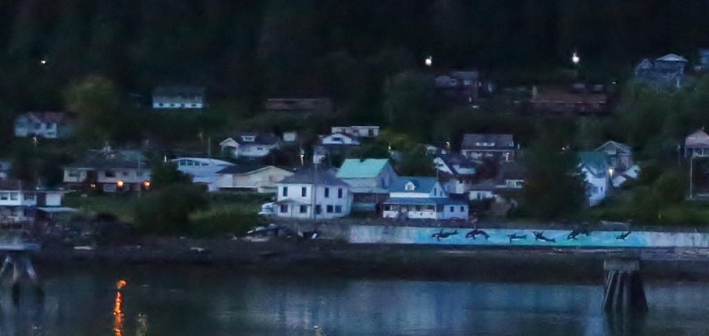 Dusk as we approach Wrangell.