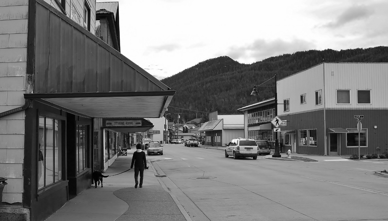 """Downtown"" Wrangell on a quiet Sunday morning."