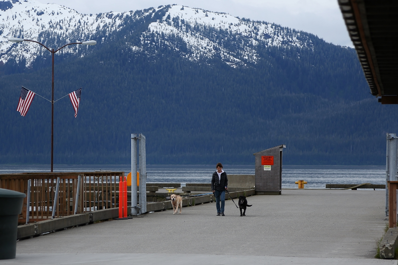 The Wrangell Pier on Sunday morning.