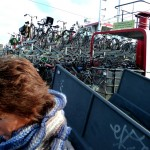 In Amsterdam, they use canal barges as bicycle parking garages