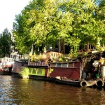 Living quarters on canal barges in Amsterdam