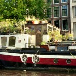 A canal barge home, Amsterdam