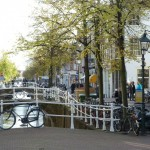 A typical canal side street scene in Delft